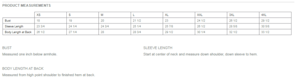 Size chart for Women's Tunic